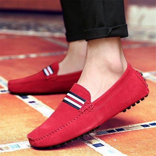 Zapatos Casuales Mocasines Formal de Trabajo Mocasines Rojo Negocios HUAN Informal de de Zapatos Sobre Zapatos Hombres de Conducción de Gamuza Los xnB0S80qzw