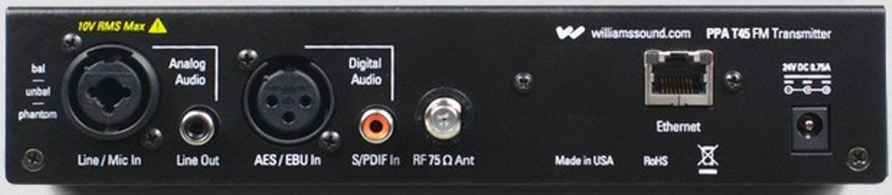 Williams Sound PPA T45 NET Personal PA FM Base Station Transmitter with Network Control, 1000' operating range, DSP Audio Processing, Microprocessor controlled, Adjustable RF power output by Williams Sound (Image #2)