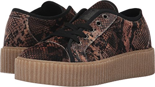 Maison Margiela MM6 Womens Velvet Creeper Low Top Beige Python Print Velvet