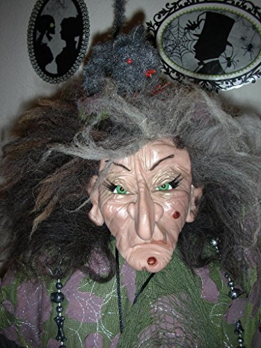 OOAK WITCH DOLL, STANDING, HALLOWEEN, COLLECTIBLE, POLYMER CLAY DOLL,]()