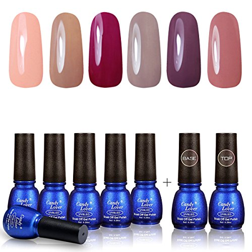 Perfect Summer Gel Nail Polish 6 Colors Gel Varnish + Top Coat Base Gel Semipermanent Soak Off UV LED Manicure Candy Lover Nude Color Series 8ML 078