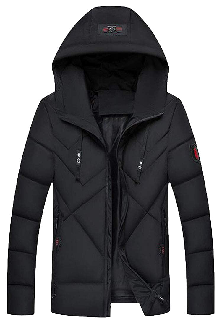 Jotebriyo Mens Winter Hooded Warm Solid Color Down Quilted Jacket Coat Outwear