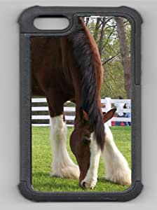 Clydesdale Horse Grazing Grass Black Rubber Hybrid Decorative iPhone 5/5s Case by lolosakes