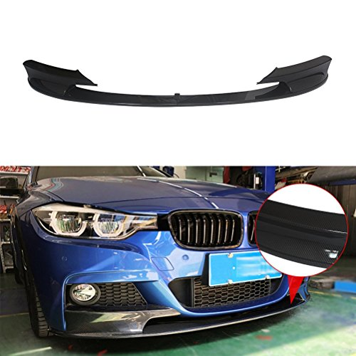 NINTE Carbon Fiber Coating for 2012-2018 BMW F30 3-Series M-Tech Front Bumper Lip - Painted Sport Front Spoiler - 2pcs