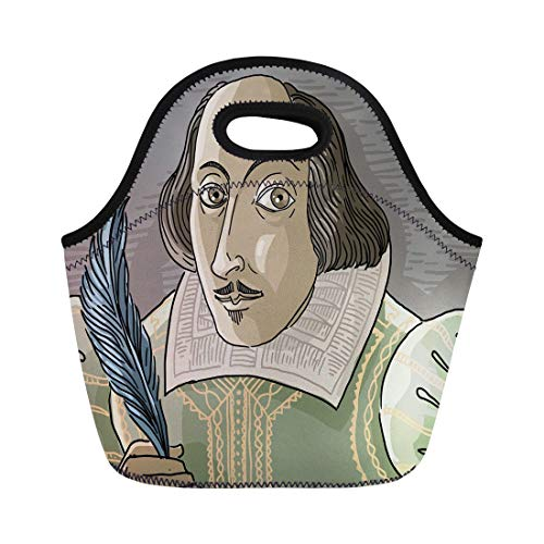 (Semtomn Lunch Bags Author Shakespeare Great English Writer Artist Bard Cartoon Drama Neoprene Lunch Bag Lunchbox Tote Bag Portable Picnic Bag Cooler Bag)