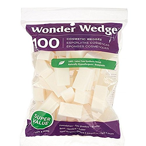 Cosmetic Wedges Made in USA Foam Makeup Sponges Puffs from Wonder Wedge (100 Count) ()