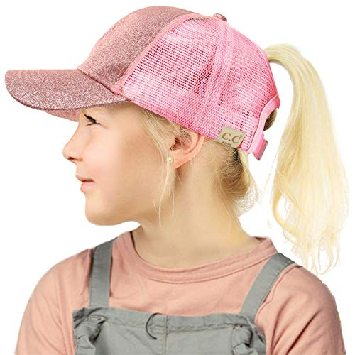 C.C Kids 2-7 Ponytail Messy Buns Ponycaps Baseball Visor Cap Hat Glitter Pink (Girls Caps And Hats)