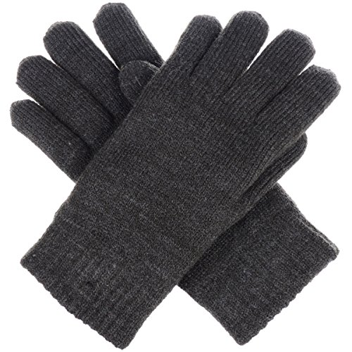 BYOS Winter Womens Toasty Warm Plush Fleece Lined Knit Gloves, 14 Solid Colors (Charcoal Gray) 100% Acrylic Knit Glove