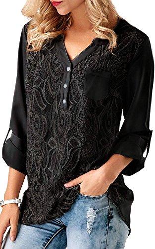 Dentelle 3 Noir Chemise Moussline Tops Blouse Manche V 4 Chemisier Chic Tee Shirt Col Femme Haut Fashion Aswinfon HqzStS