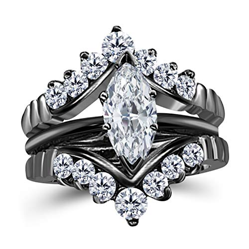 Silver Gems Factory 0.75 Ct Marquise Solitaire Engagement Wedding Ring Band Set Enhancer Cubic Zirconia 14k Black Gold Plated Alloy ()