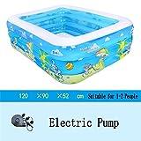 LQQGXL,Bath Inflatable bathtub / swimming pool pool child / baby / home football / electric pool sea pool for 1-2 people (120 90 52 cm) Inflatable bathtub ( Color : Electric Pump )