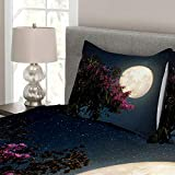 Ambesonne Moon Bedspread, Cherry Blossom with Stars