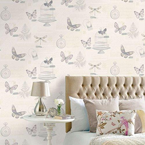 - Marisela Heather Wallpaper Butterflies Trees Birdcage Calligraphy Clocks Holden