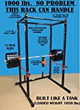"Cheap TDS Mega 1000 lb rated Black Power Squat Rack, 1.25"" dia professionally knurled front Chinning Bar, Provision to add Lat Attachment, Pull up/Chip up bar and more!"