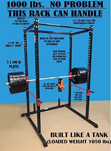 - TDS Mega 1000 lb Rated Black Power Squat Rack, 1.25