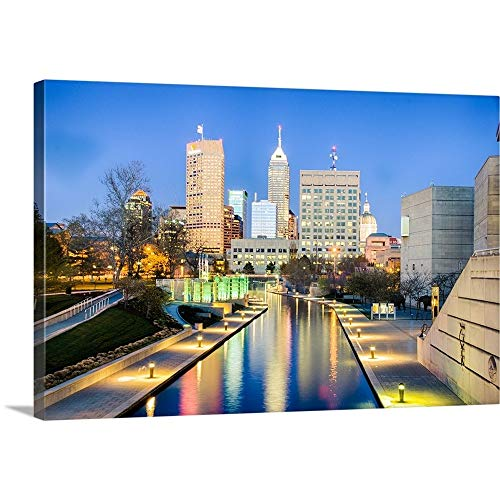 Skyline, Indianapolis, Indiana Canvas Wall Art Print, 36 x24 x1.25