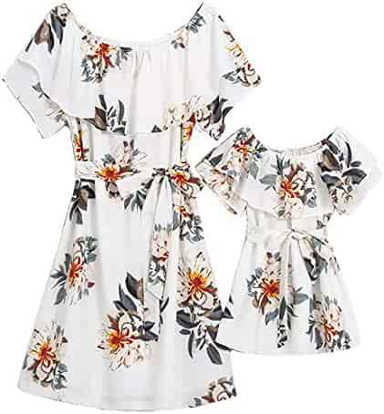 76a3360e0 PopReal Mommy and Me Floral Printed Dresses Chiffon Bowknot Ruffles Beach Family  Matching Outfits