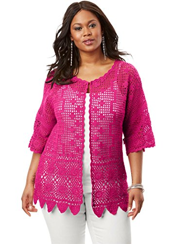 Womens Plus Size Scallop-Trim Crochet Cardigan