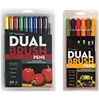 Tombow Dual Brush Pen Set, Professional Marker Set (16 Colors Set Including Primary and Secondary)