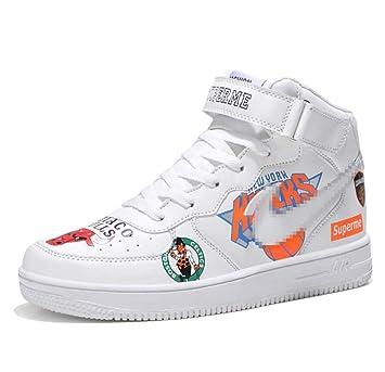a402f94e98eaa SHANGWU Zapatillas Altas sin Mangas diarias para Hombres Aumentar la Altura Zapatos  Hip Hop Graffiti Air Force 1 Zapatos de Chapa Pareja  Amazon.es  ...