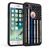 iPhone 6S Case,iPhone 6 Case,Rossy Thin Blue Line American Flag Design Shock-Absorption Drop Protection Hybrid Dual Layer Armor Defender Protective Case Cover for Apple iPhone 6 / 6S 4.7 inch