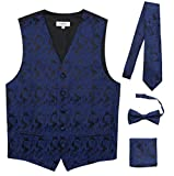 JAIFEI Premium Men's 4-Piece Paisley Vest for Sleek Looks On Formal Occasions (L (Chest 42), Navy)