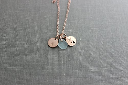14k Rose gold filled Sand dollar and genuine sea glass initial (Gold Sand Glass Pendants)