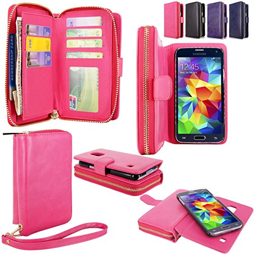 Galaxy S5 Case - Cellularvilla Pu Leather flip Wallet Bag Pouch Case with Credit Card Slots Pockets & Detachable Hard Soft Back Cover For Samsung Galaxy S5 S 5 I9600 SM-G900 AT&T / T-Mobile (Hot Pink)