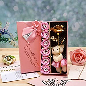 Basde Gold Plated Long Stem Rose Flower with Premium Crystals Gold Plated with Premium Crystals Great Gifts, for Anniversary Birthday Christmas Valentine's Day Mother's Day Wedding (Pink) 2