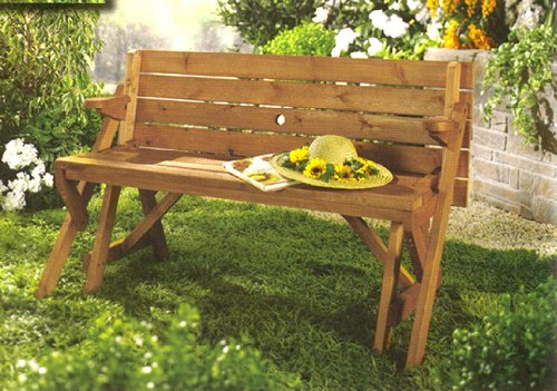 Folding Convertible Outdoor Bench Garden Picnic Table