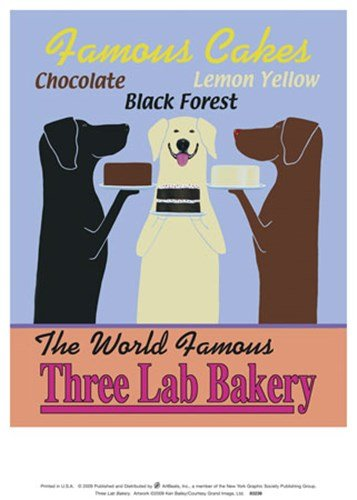 Three Lab Bakery by Ken Bailey - 9x12.5 Inches - Art Print Poster
