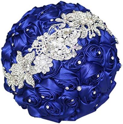 Amazon Com Iffo Sapphire Blue Brooch Bouquet Silk Rose Bridal