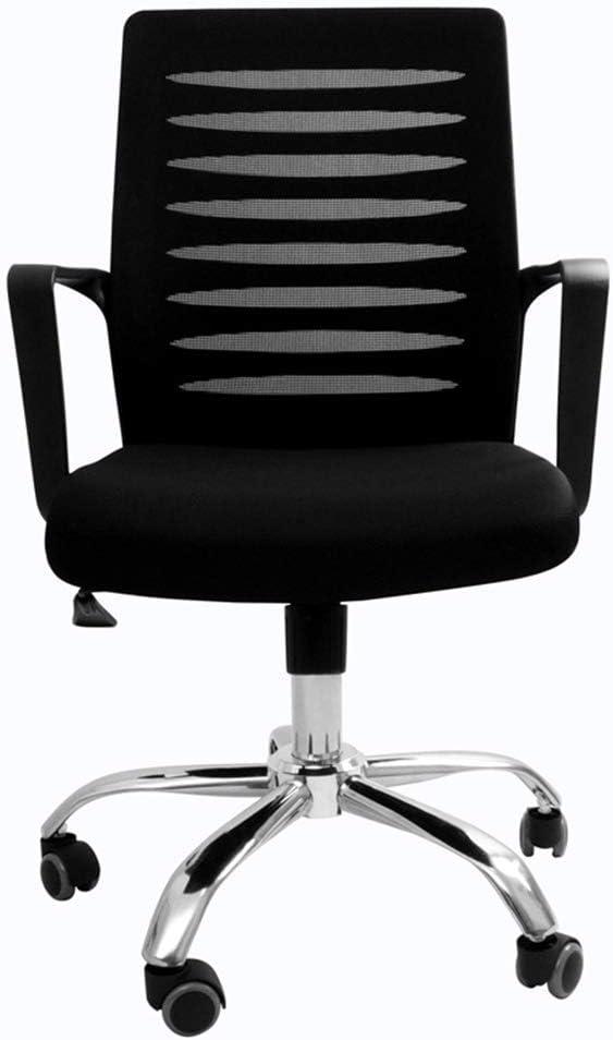 WSDSX Silla de Oficina en casa con Respaldo Medio, Respaldo y Asiento Transpirables, Silla Negra Ajustable para gerentes, sillas de Oficina, prácticas