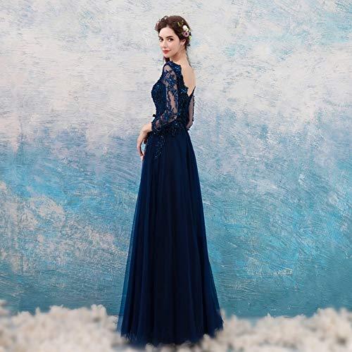 YT Compleanno con da Abito ER Sera da di Profondo Ricamato blu Prussia Cristallo Di Di in Sera Blu Pizzo Abito Festa s Elegante ff4rq