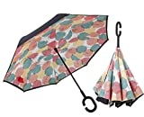 Inverted Umbrella Double Layer Windproof UV Protection Sun&Rain Car Reverse folding Umbrellas Cute Travel Umbrella Manually Rain Windproof Anti-UV Star Flower Umbrella for Easy Carrying Leaf