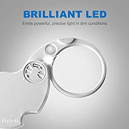 Fancii LED Lighted 3X Folding Pocket Magnifier with 15X Loupe, 60mm Diameter Flip Open Lens – Best Illuminated Portable Magnifying Glass for Reading, Inspection, Jewelry, Coins, Hobby, Travel