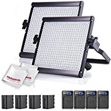 Pergear Lightmate S CRI 96+ 5500K Dimmable Ultra-thin Ultra-light 480 Led Photography Studio Video Light Panel with 6600mAh Batteries Pack - 2 Set