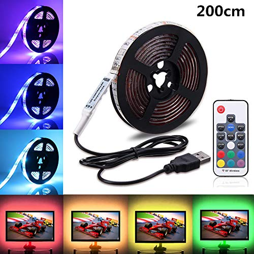 USB LED Light Strip,SOLMORE RGB LED Strip Lights TV Backlight Strip 2m/6.6ft 5050 Flexible LED Strip with IR Remote,Waterproof LED Light Strip for TV LCD,Desktop PC/Laptop Background Lighting Decor (Corner Basket Combo)