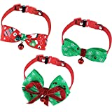 Gejoy 3 Pieces Pet Collar Bow-tie Dog Collar Christmas Pet Neckties with Bell Adjustable Bow Tie Collar (M Size)