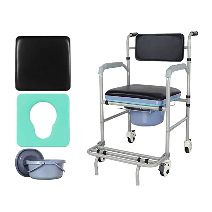 QETU Silla De Inodoro Plegable Multifuncional Elders Potty Chair con Cuatro Ruedas Sillas De Ruedas De Acero Al Carbono para Pacientes Ancianos: Amazon.es: ...