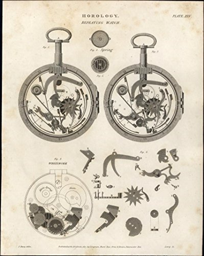 (Repeating Watch Horology Clocks c.1809 rare antique engraved print)