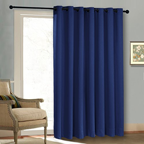 Thermal Sliding Door Wide Curtain - Three Pass Microfiber Blackout Patio Door Curtain Panels, Silver Grommet Top Insulated Drapes/ Draperies by NICETOWN (Navy Blue, 1 Piece, 100 by 84-Inch,)