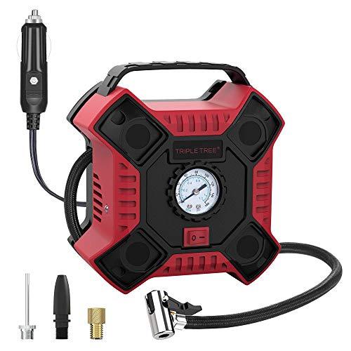 TRIPLE TREE 12V/DC Auto-Luftpumpe Tragbare Inflator Kompressor Für 10A/0.6MPA Autoreifenfüller für Auto oder Andere mit Analogem Manometer und LED Licht Rot