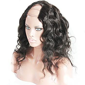 LUFFYWIG 8A Short Hair Body Wave Wavy U Part Lace Wig 2 4 Middle U Part Natural Color wigs For Women (18 Inch)