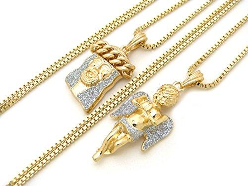 Fashion 21 Gold Silver Tone Micro Angel, Jesus Pendant 24