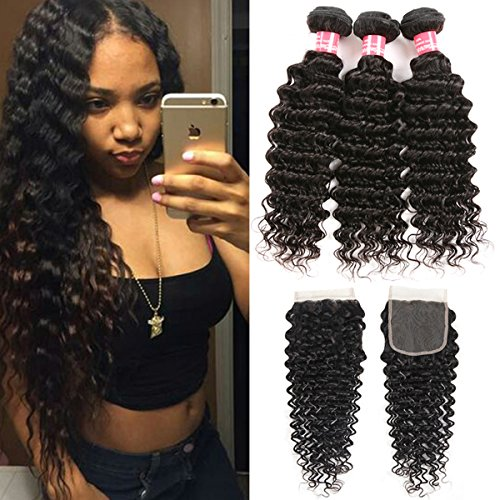 YuLing Brazilian Virgin Deep Wave Hair 3 Bundles with Closure 100% Unprocessed Human Hair with 4x4 Lace Closure Free Part Natural Color