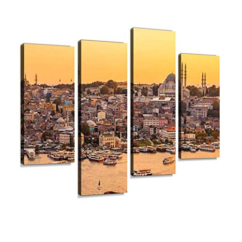 - Istanbul, Turkey, View on Golden Horn Bay from Galata Tower Canvas Wall Art Hanging Paintings Modern Artwork Abstract Picture Prints Home Decoration Gift Unique Designed Framed 4 Panel