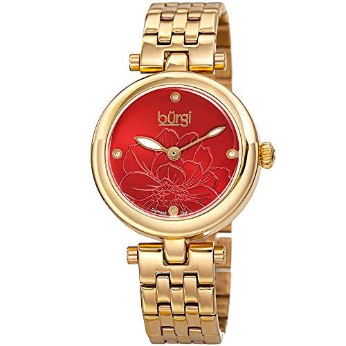 Burgi Stainless Steel Designer Women's Watch - Rose Gold Tone Case, 4 Genuine Diamond Markers on Red Flower Embossed Sunray Dial - BUR223YGR - Embossed Dial Watch