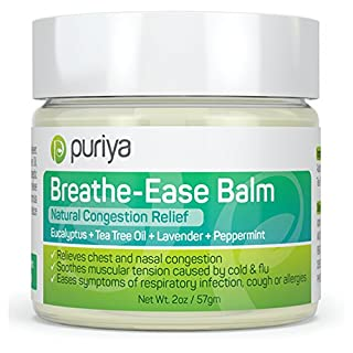 Puriya Chest Rub Cream for Congestion Relief, Breathe Ease Balm, Plant-Rich Active Formula, Eucalyptus Oil, Lavender, Tea Tree, Soothes and Relieves Cold & Sinus, Flu, Cough, Safe for Kids & Adults