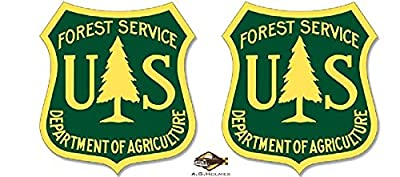 "2pcsYellow & Green US Forest Service Shield Shaped Sticker (forestry logo decal) 4"" Decal / Sticker / Helmet / Laptop - AG HOLMES"
